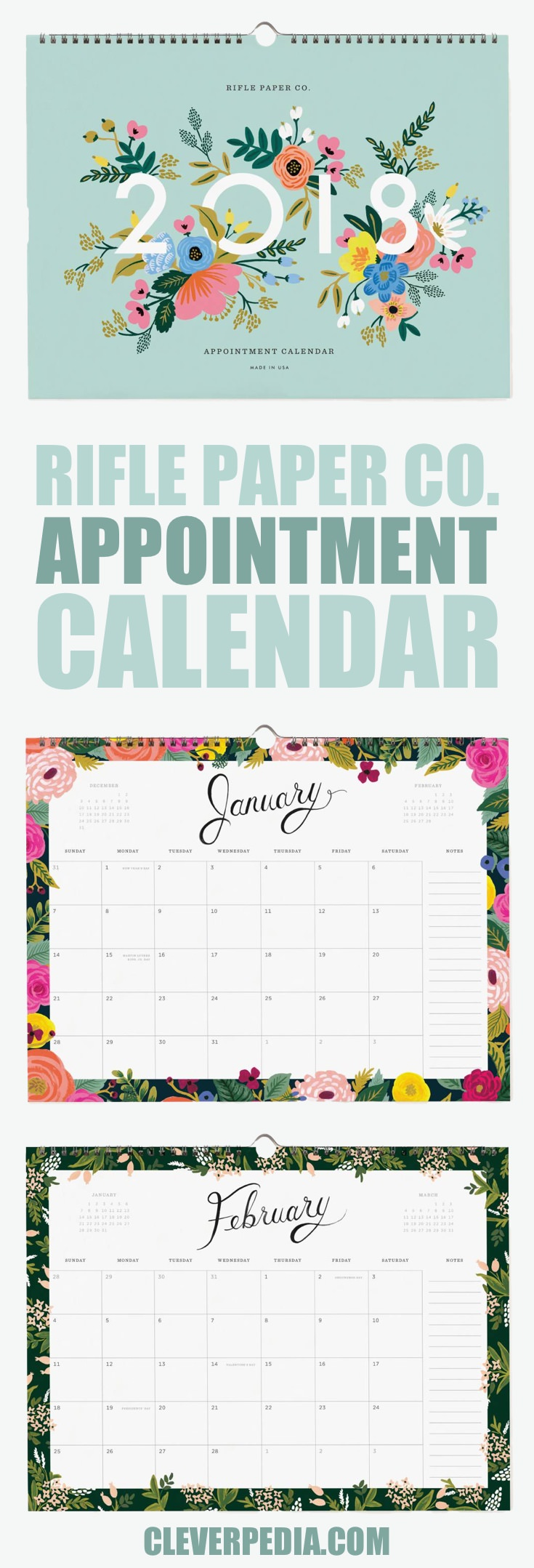 The Rifle Paper Co. 2018 Appointment Calendar has a dozen pages of calendar squares with floral borders, ready to fill with your appointments.
