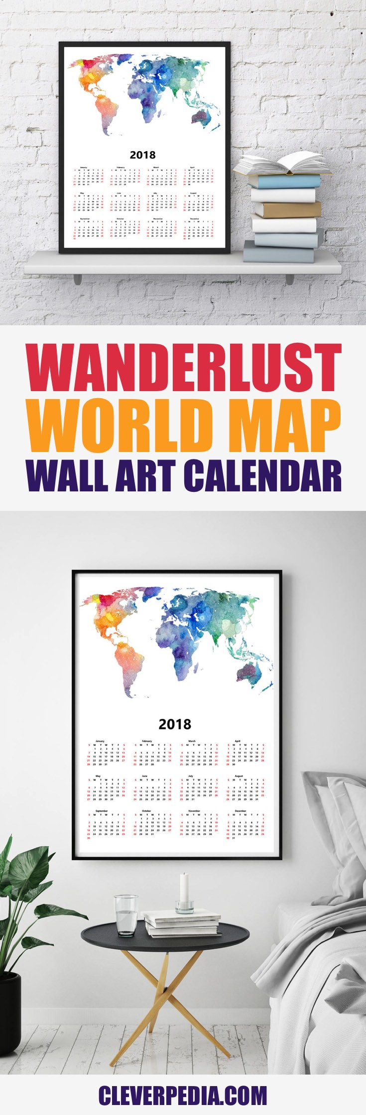 Best 2018 wall art calendars creative gifts cleverpedia 2018 wanderlust world map calendar print gumiabroncs Gallery