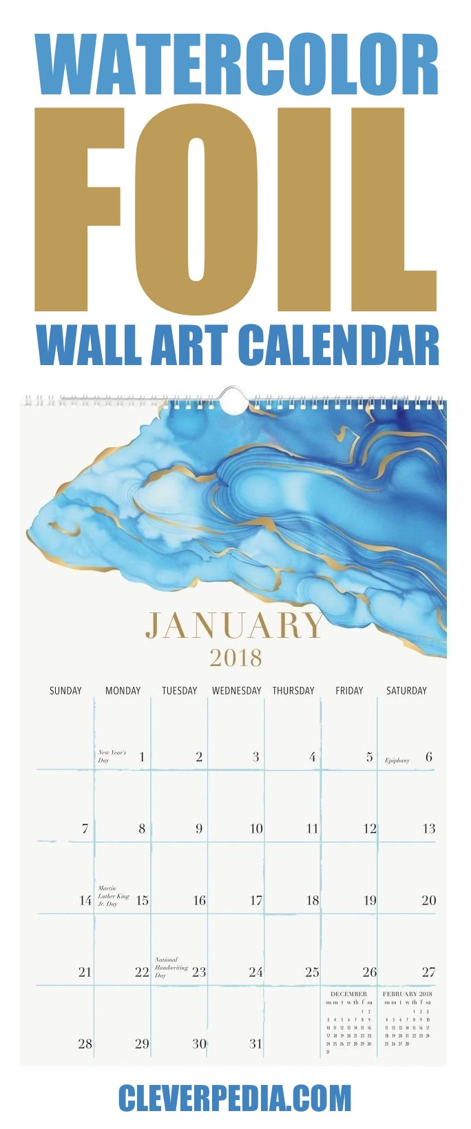 Don't you love this colorful watercolor calendar with gold foil accents? With plenty of space to write your appointments, this wall art calendar is a great balance of beauty and practicality.