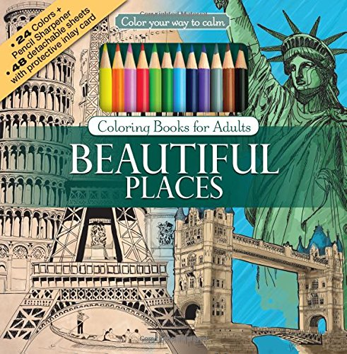 Beautiful Places Adult Coloring Book Set With 24 Colored Pencils And Pencil Sharpener