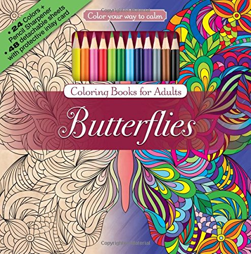 Butterflies Adult Coloring Book Set With 24 Colored Pencils And Pencil Sharpener