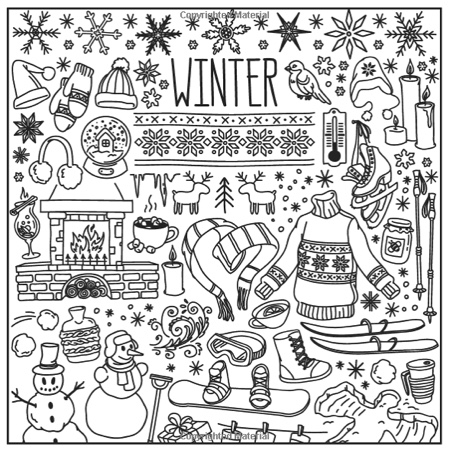 winter dreams christmas adult coloring book set with 24 colored pencils pencil sharpener and fireplace