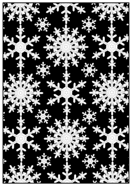 This is a coloring page from the adult coloring book Frosted Morning and Midnight by Dawn McAndrew. This book features original geometric snowflake designs on both black and white backgrounds!