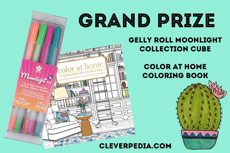 The grand prize in the Cleverpedia + Sakura of America Giveaway: Gelly Roll Moonlight Collection Cube and Color at Home Coloring Book