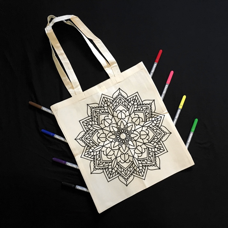 Doodlr Coloring Tote Bag in Mandala. These colorable clothes, aprons, tote bags, and pillow covers by ShirtBox make awesome gifts!