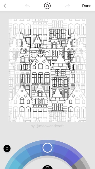 Create your own coloring book fabric in the iOS app Lake!