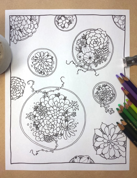 Succulent Circles Adult Coloring Page by FairytaleFoxDesigns (Print & Color)