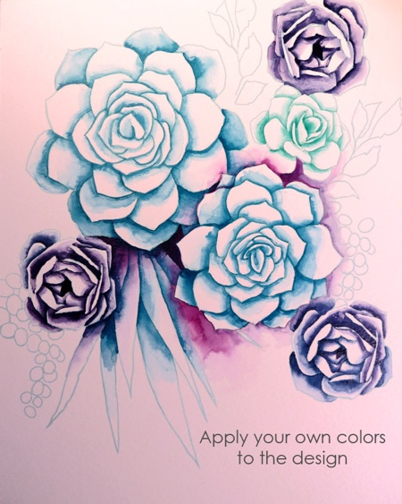 Watercolor Succulent Coloring Page for Painting by IllCallYouFromParis (Print & Color)