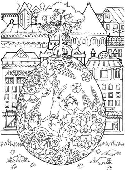 Nice Little Town Easter: Adult Coloring Book by Tatiana Bogema