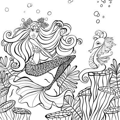 Mermaids in Paradise: An Artist's Coloring Book by Denyse Klette