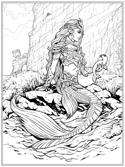 Pirates and Mermaids Adult Coloring Book by Jon Silvergreen