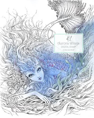 Mermaid with Pearls in Kelp Coloring Page by AuroraWings (Print & Color)