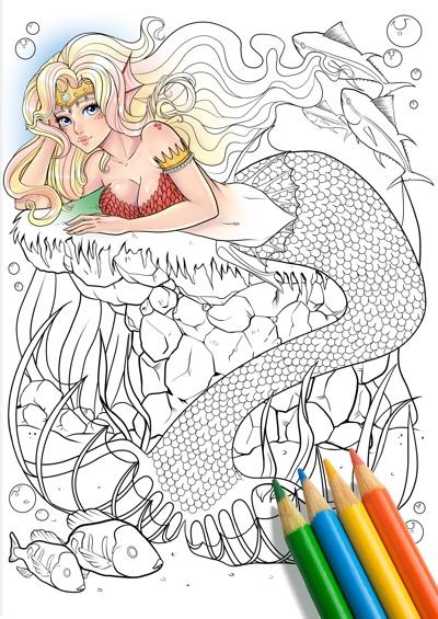 Mermaid Underwater Fantasy Coloring Page by BlackRabbitVisuals (Print & Color)
