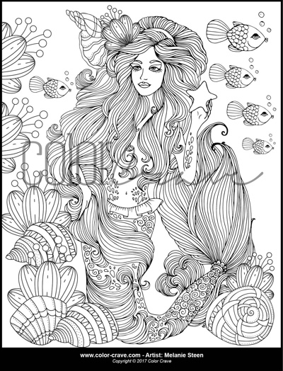 Sandy the Mermaid and Starfish Coloring Page by ColorCraveDesigns (Print & Color)