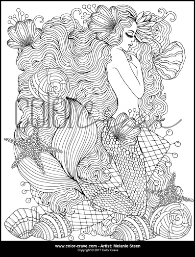 Sandy the Sleeping Mermaid Coloring Page by ColorCraveDesigns (Print & Color)