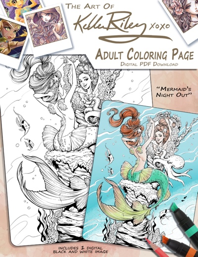 Mermaid's Night Out Adult Coloring Page by KelleeArt (Print & Color)