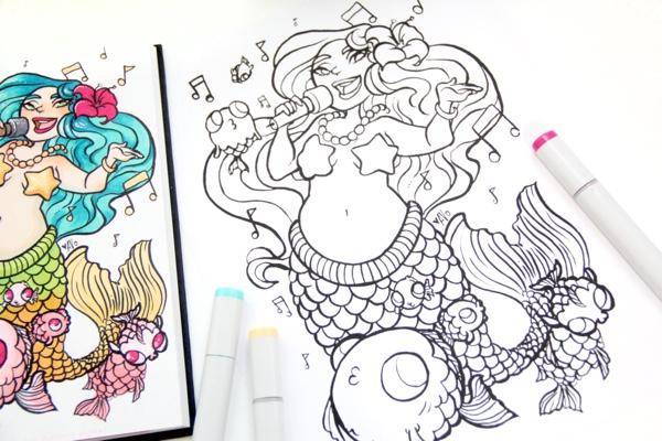 Mermaid Popstar Coloring Page by LoveTeacupKisses (Print & Color)