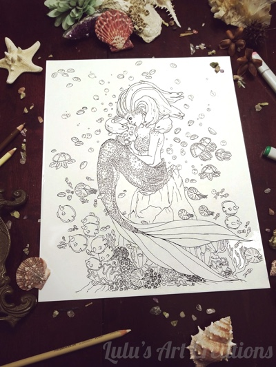 Mermaid Medusa Coloring Page by LulusArtCreations (Poster-size Print)