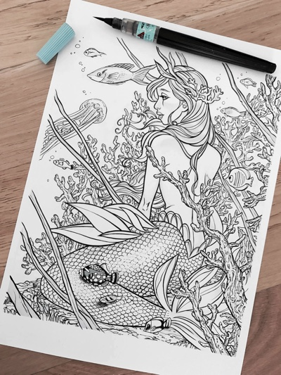 Mermaid, Coral, and Fish Coloring Page by MariaAbagnaleArt (Print & Color)