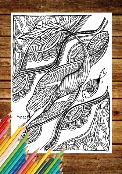 Zentangle Mermaid Adult Coloring Page by MessedUpImaginations (Print & Color)