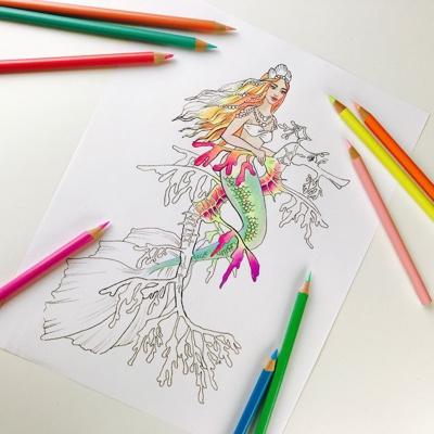 Fantasy Mermaid and Seahorse Coloring Page by Olga Zaytseva (Print & Color)