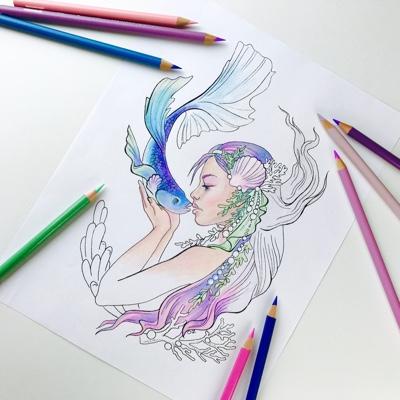 Mermaid Kisses Coloring Page by Olga Zaytseva (Print & Color)