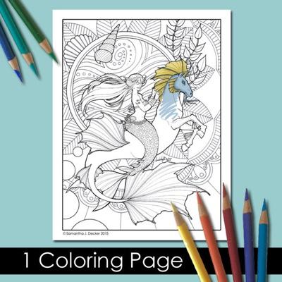 Printable Mermaid Coloring Page By SamanthaJeanArt