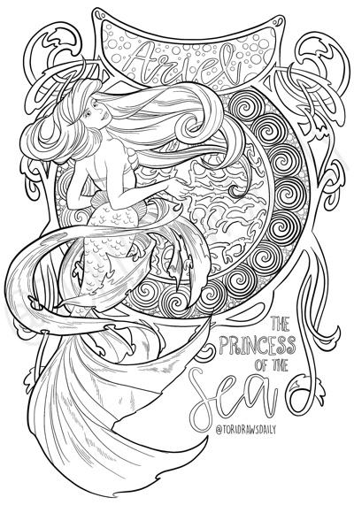 Ariel Disneys Little Mermaid Art Nouveau Coloring Page By ToriDrawsDaily