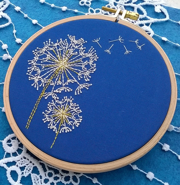 Flower Hoop Art PDF Pattern DIY Hand Embroidery Dandelion Embroidery Pattern Dandelion Clock Art Instant Download Needlecraft Design