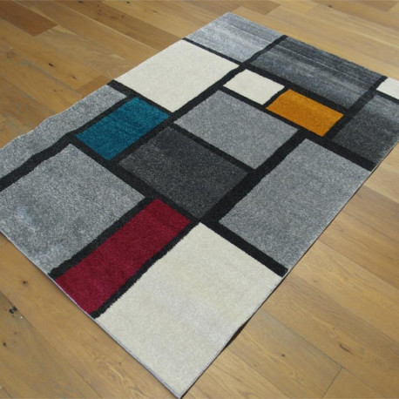 tapis poil ras geometrique style mondrian 120x170cm specter