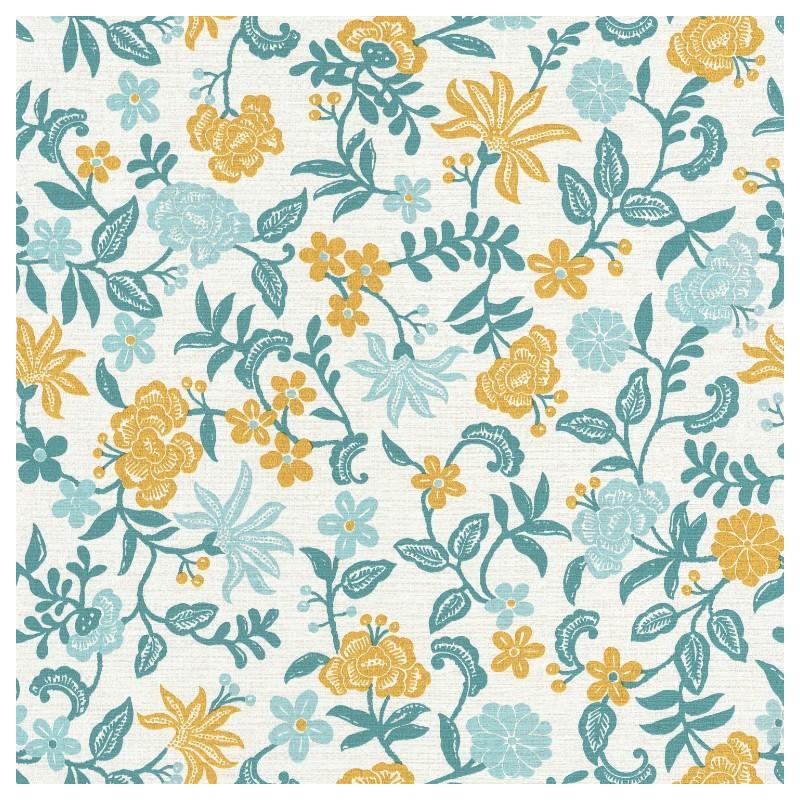 papier peint bohemia floral bleu et jaune acapulco caselio
