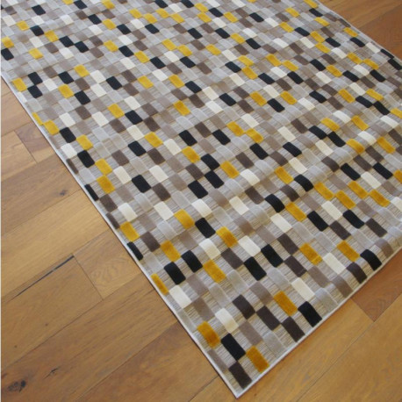tapis corde et poil ras damier rectangles jaunes gris 160x230 flow