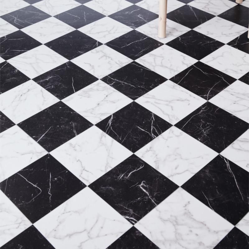 sol vinyle vinca damier marbre noir blanc 3m luxury trends ivc
