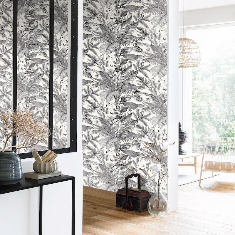 papier peint tropical worlds noir et blanc moonlight caselio
