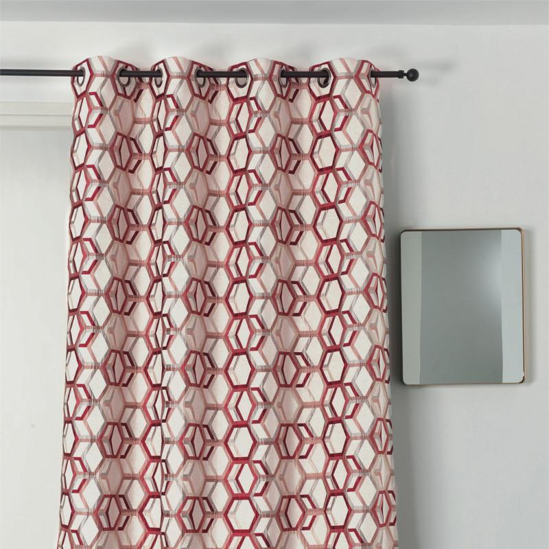 rideau a œillets motif geometrique rouge et argent alanis linder