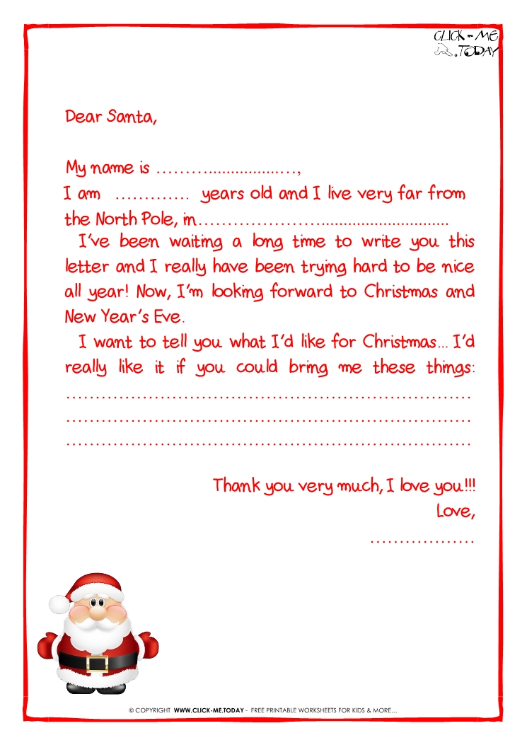 Ready Letter To Santa Claus Template More Text Cute