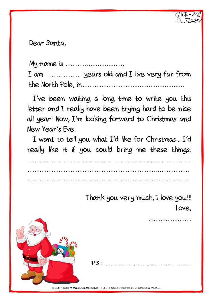 letter to santa claus black amp white free template ps santa
