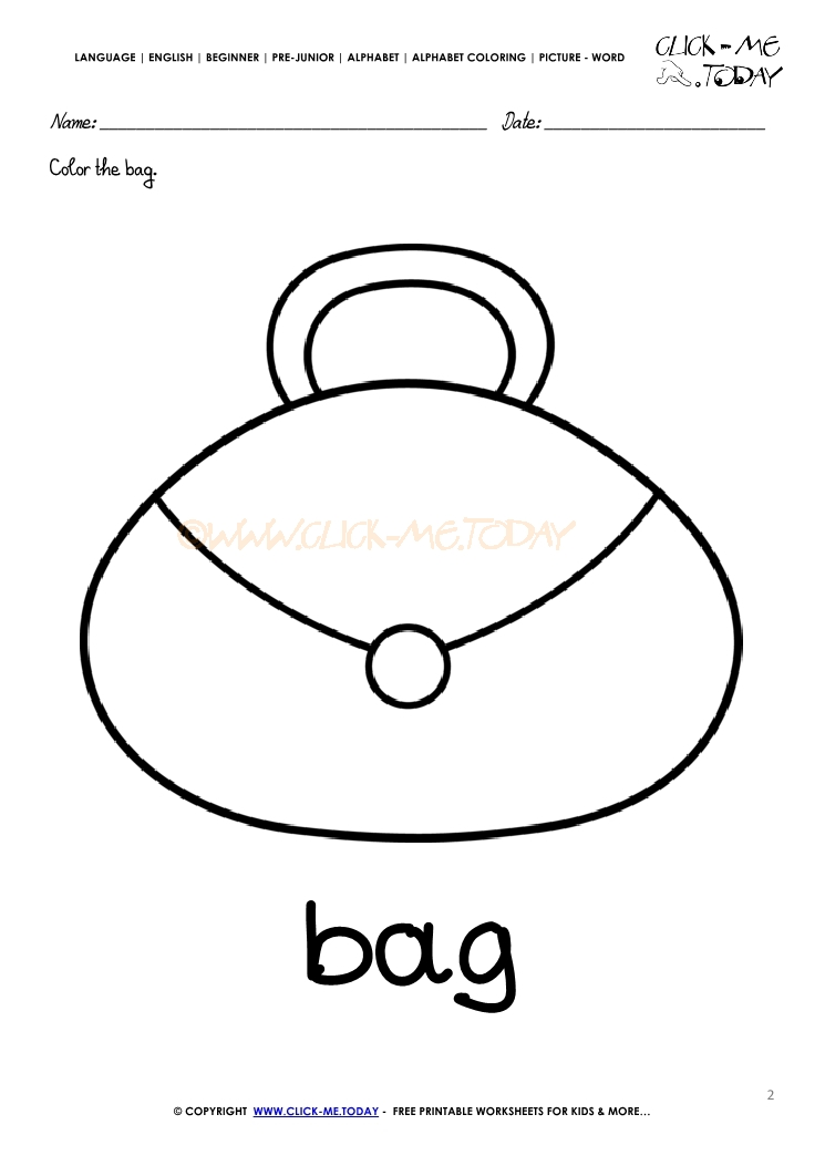 english alphabet coloring pages with words b