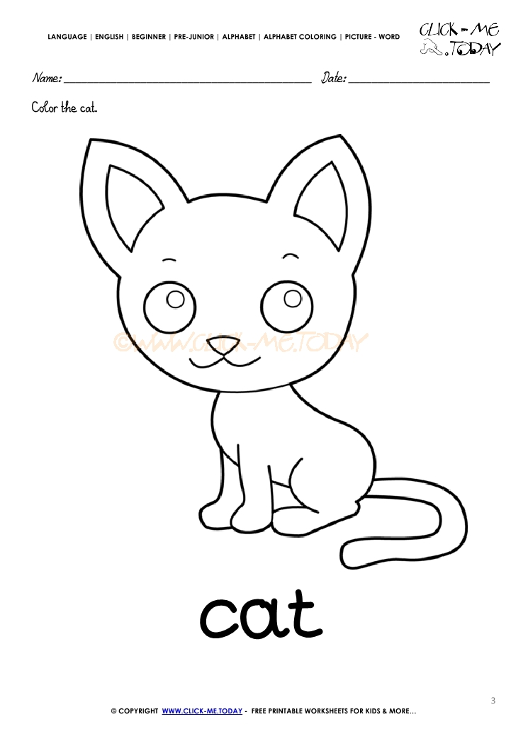 english alphabet coloring pages with words c