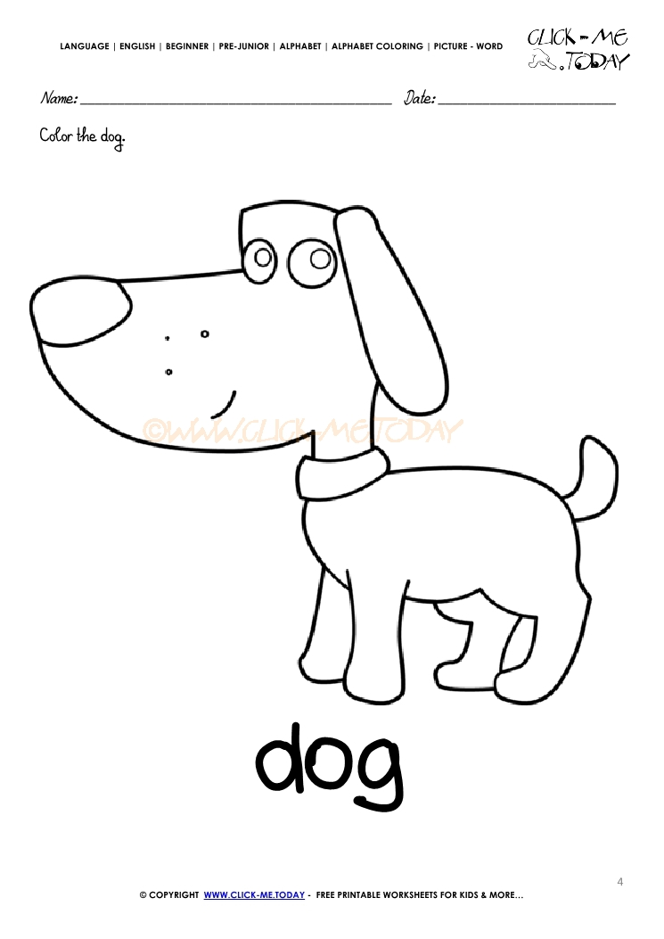 english alphabet coloring pages with words d