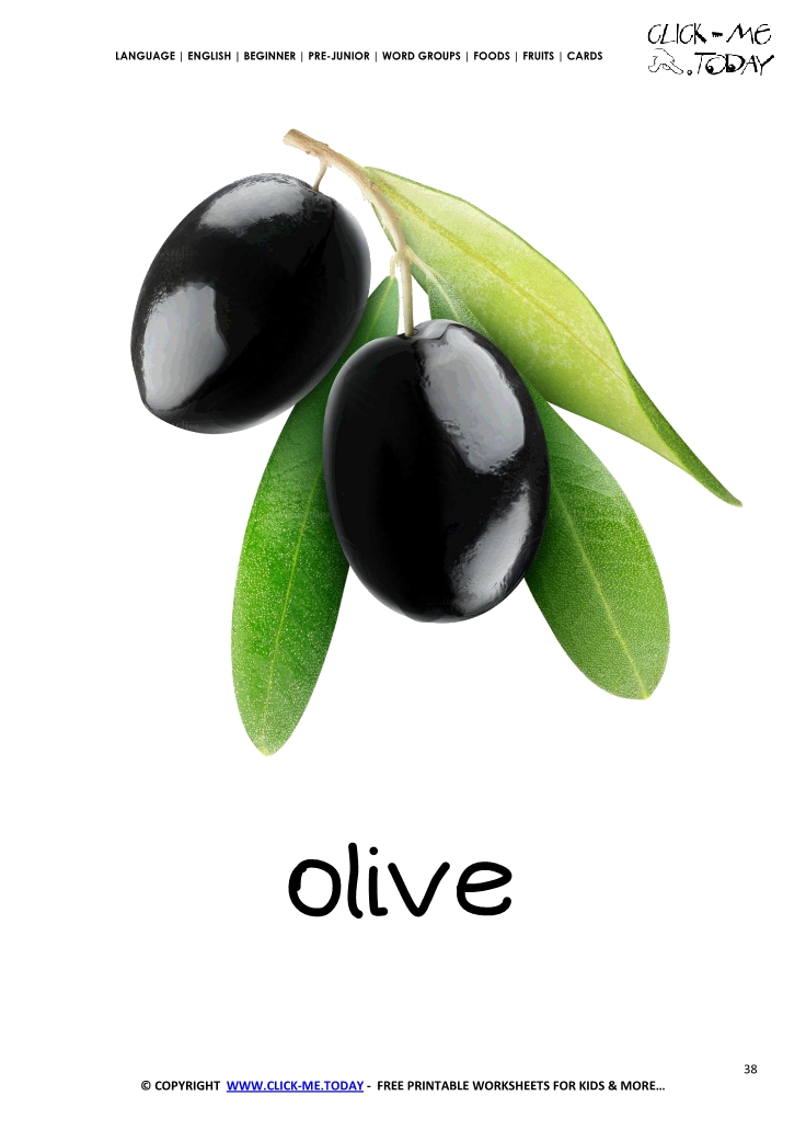 Printable Olive Flashcard Wall Card Of Olive