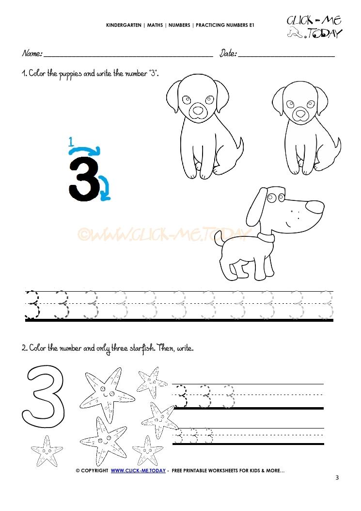 Tracing Numbers Worksheets Number 3