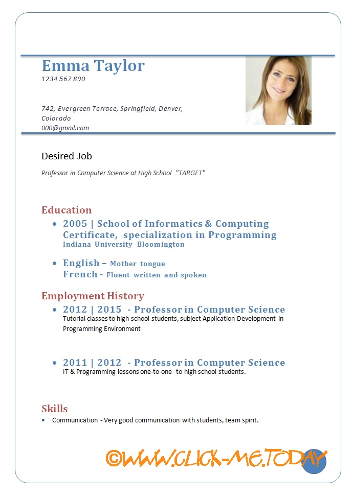 Curriculum Vitae Samples In Pdf