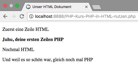 PHP in HTML - Abbildung 2