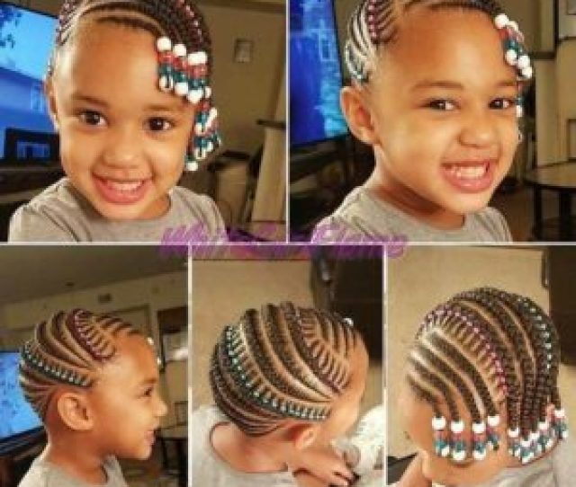 Little Black Girl With Beautiful Cornrow Braids Decorated With Beads