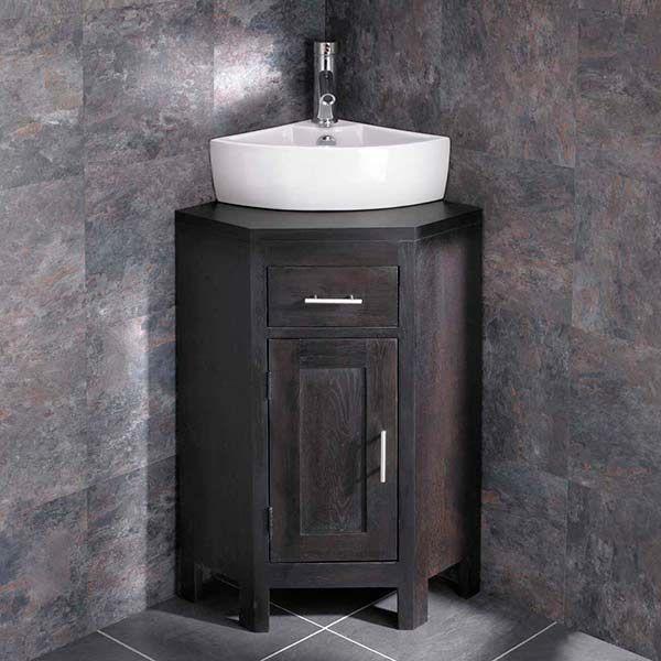corner dark oak vanity unit with corner basin bundle inc tap and waste alta