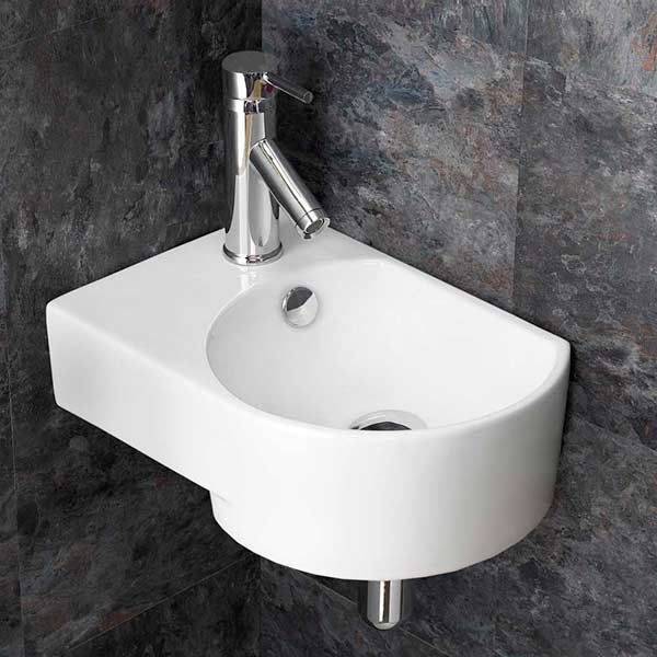 small wall hung corner basin in white ceramic left hand sink with overflow 400mm x 270mm aversa