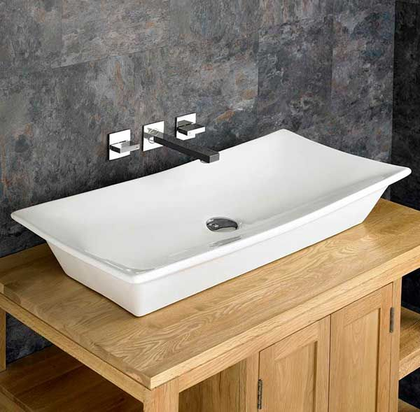 large rectangle countertop bathroom basin in white ceramic 800m x 390mm freestanding sink capri