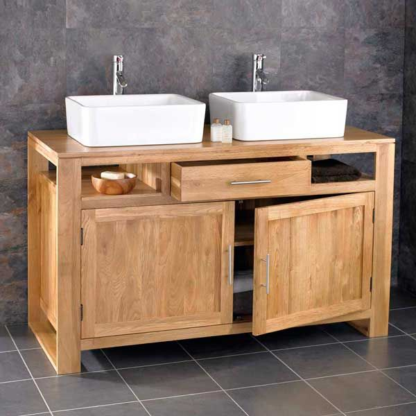 extra large double sink solid oak bathroom vanity unit with choice of basins cube