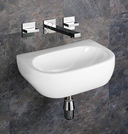 rectangular wall hung bathroom basin in white ceramic 420mm x 280mm no tap hole sink cannes